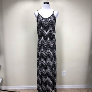 Lush Black & Tan Spaghetti Strap Maxi Dress